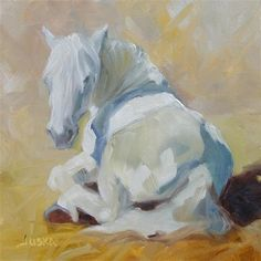 "Daily Paintworks - ""Study of White Horse Napping"" - Original Fine Art for Sale - © Elaine Juska Joseph"