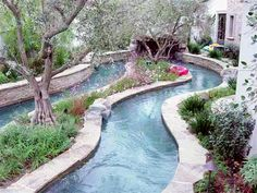 Backyard pool and river flow ideas