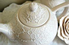 Cream white lace teapot