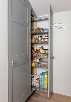 Choosing Your New Kitchen Cabinets Kitchen Larder, New Kitchen Cabinets, Kitchen Layout, Kitchen Items, Kitchen Storage, Tall Cabinet Storage, Grey Shaker Kitchen, Kitchen And Bath, Harvest Kitchen