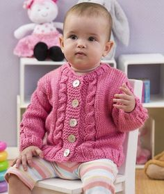 Seeds of Spring Baby Cardi Free Knitting Pattern from Red Heart Yarns Free Baby Sweater Knitting Patterns, Knitting Baby Girl, Knit Baby Sweaters, Knitting For Kids, Baby Patterns, Free Knitting, Knitted Baby, Sweater Patterns, Cardigan Pattern