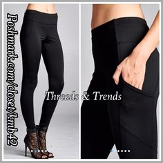 Activewear Casual Pants Stylish activewear casual pant with side pocket and stitching detail. Pair with tops, hoodies, sweaters for casual weekend look or pair with fave tee and wear to the gym. Size S, M, L made of poly/cotton spandex blend. Available in colors black or Heather grey. Threads & Trends Pants