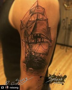 Beautiful ship tattoo by Ocean Sleeve, Daddy Tattoos, Tattoos With Kids Names, Octopus Tattoos, Tattoo Drawings, Sleeve Tattoos, Tatting, Tattoo Designs, Ship Tattoos