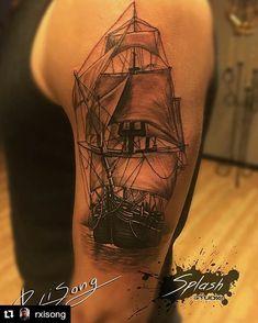 Beautiful ship tattoo by @rxisong | Old Ship tattoo #oldshiptattoo #lacenanotattoomachines #lacenano #blackink #blxcink #shiptattoo #splashstudio #larvik #norway