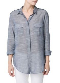 Lightweight chambray cotton t-shirt crafted in a striped jacquard fabric. Twin flap pockets on the chest and buttoned long sleeves. Chambray, Summer Outfits 2017, Blouse, Shirt Dress, Jacquard Fabric, Button Down Collar, Cool Style, Leather Jacket, Long Sleeve