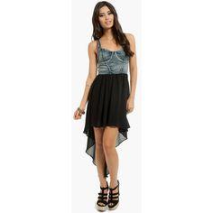 Tobi Selena Bustier Denim Dress ($36) ❤ liked on Polyvore featuring dresses, black, studded dress, studded bustier, strappy dress, black bustier and bustier dress