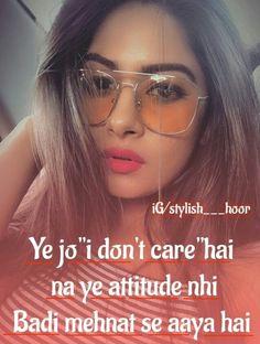 #Ånam khan*** Attitude Quotes For Girls, Girl Attitude, Girly Quotes, Me Quotes, Qoutes, Hindi Quotes, Cute Instagram Captions, Attitude Shayari, Do You Know Me