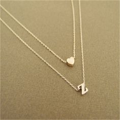 Monogram Necklace Tiny Initial A-Z Layered Letter Heart Thin Dainty Silver Gold