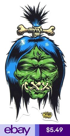 Artist Dirty Donny Shrunken Head Sticker by Poster Pop Cartoon Kunst, Cartoon Drawings, Cartoon Art, Art Drawings, Zombie Kunst, Zombie Art, Head Tattoos, Body Art Tattoos, Shrunken Head Tattoo