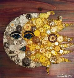 Vintage Jewelry Art - One of a Kind Button Art. Made from Buttons and Beads with Acrylic Paint Background on Recycled Wood. Size approx comes ready to hang. Actual Buttons will vary but overall look is similar; which makes your art one of a kind. Button Art Projects, Button Crafts, Craft Projects, Unique Art Projects, Crafts To Make, Fun Crafts, Crafts For Kids, Arts And Crafts, Summer Crafts