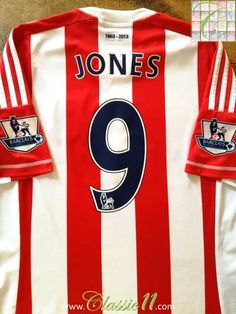 Official Adidas Stoke Home football shirt from the season. Complete with Jones on the back of the shirt with Premier League patches on the sleeves. Premier League Goals, Vintage Football Shirts, Stoke City, Thing 1, Football Uniforms, Adidas Shirt