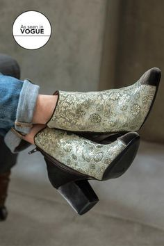 48e6f1c0dd10 We adore these pale green and gold brocade ankle boots with moss green  velvet accent and