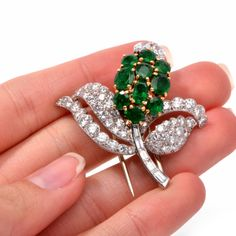 Cartier Emerald Diamond Gold Platinum Floral Brooch image 6. >