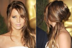 """For Jennifer Lawrence's irresistibly piecey sideswept style, Mark Townsend created a conventional French twist, but rather than tucking up the loose ends, he pulled them over one shoulder. """"It's sexy, romantic, and Bardot-inspired,"""" the hairstylist told us. """"And because the hair isn't hidden away, it's a compromise between a ponytail and a down 'do.""""   - HarpersBAZAAR.com"""