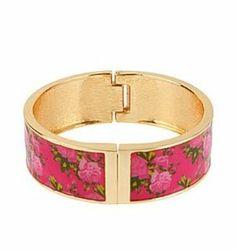 Betsey Johnson Pink Rose Hinge Bangle Bracelet Boxed Gift Betsey Johnson. $36.95