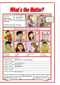 This worksheet presents and practices basic health problem vocabulary and then modals should and must for advice. The students practice by writing sentences and then role play a doctor and patient.