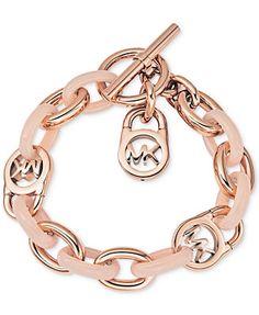 Michael Kors Rose Gold-Tone Fulton Toggle Bracelet