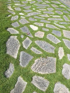Space out flagstones & let grass grow between, instead of filling with pebbles/cement