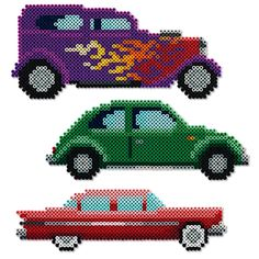 These Perler pearl representations of three great classic cars - a hot rod, a . - These Perler pearl representations of three large classic cars – a hot rod, a beetle, a … – # - Perler Bead Designs, Perler Bead Templates, Hama Beads Design, Diy Perler Beads, Perler Bead Art, Pearler Beads, Fuse Beads, Melty Bead Patterns, Pearler Bead Patterns