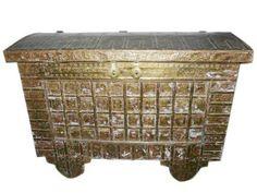 Antique Brass Hope Chest Damchiya Pitara Chest Carved Furniture Storage Box | eBay