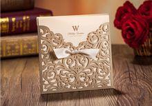 Alta Qualidade 15*15 cm Quadrado de Ouro Luz Incluindo Envelopes Do Convite Para O Casamento & Selos(China (Mainland))