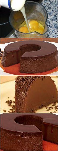 Pudim de Chocolate de Liquidificador…MUITO FÁCIL DE PREPARAR! VEJA AQUI>>>No liquidificador, bata os ovos, o leite condensado, o leite e o chocolate em pó, até obter uma mistura homogênea. Despeje na forma previamente caramelizada e cubra com papel alumínio. #receita#bolo#torta#doce#sobremesa#aniversario#pudim#mousse#pave#Cheesecake#chocolate#confeitaria