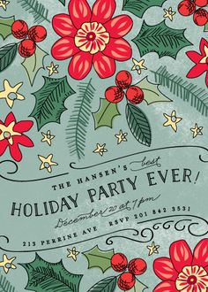 "Festive Affair Holiday Party Invitations Challenge: Traditional Colors Award for the best design that uses traditional holiday colors like red - ""Best Holiday Party Ever"" by Chris Griffith for Minted"