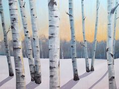 Thanks SO MUCH for Visiting my Gallery. To see close ups please click on above images  ROOM VIEWS MAY NOT BE TO SCALE.  -Artwork description: winter birch trees 01 -Size: 30 x 48 x 1.5 CANVAS WILL ARRIVE WIRED READY TO HANG. -Medium: acrylic on Gallery Wrapped canvas. -Dominant Colors: white, black, grey. blue, gold. sparkling gold flakes. -FINISH: Coats of Varnish have been Applied to the Painting for Protection.  Thanks for looking