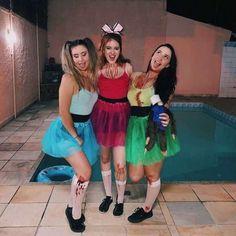 Three Person Halloween Costumes, Powerpuff Girls Halloween Costume, Halloween Costumes For Teens, Easy Costumes, Girl Costumes, Power Puff Costume, Halloween Meninas, Trendy Halloween, Halloween 2020