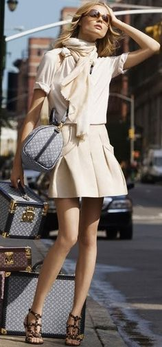 Love this look Luggage LV luggage vintage versions from http://www.clubhouseinte... | See more about cream skirt, cream blouse and luggage.