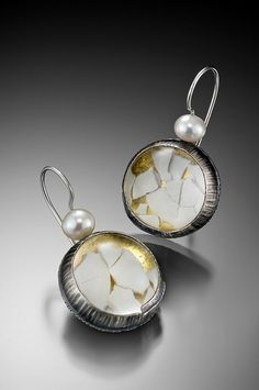 eggshell earring round by mammetal, via Flickr