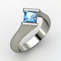 Princess Blue Topaz Sterling Silver Ring | Slant Ring | Gemvara