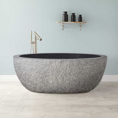 "60""+Augustus+Chiseled+Stone+Tub+-+Black+Granite"