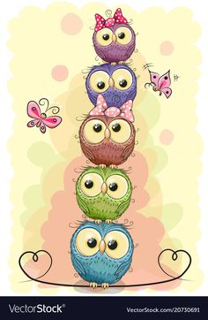 Imagens, fotos stock e vetores similares de Cute Cartoon Owl on a hearts background - 1304109256 Owl Clip Art, Owl Art, Bird Art, Chibi Kawaii, Owl Wallpaper, Owl Pictures, Happy Paintings, Cute Cartoon, Cartoon Owl Drawing