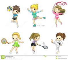 Cartoon Athlete Girls Icon In Various Type Of Spor - Download From Over 27 Million High Quality Stock Photos, Images, Vectors. Sign up for FREE today. Image: 42345624
