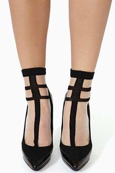 Hard Line Sheer Socks - Black