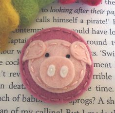 NO SLIP Wool felt hair clip -Piggy -baby -old pink. $7.00, via Etsy.