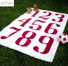 white rug painted with red numbers