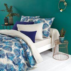 Housse de couette 1 ou 2 personnes coton imprimé Blue Leaf imprimé feuille de palmier mur bleu canard parure de lit tropical tropicool bleu électrique #tripocool #palm #tropical #chambretropicale #urbanjungle