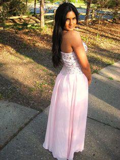 Find affordable A-line Sweetheart Chiffon Floor-length Rhinestone Prom Dresses