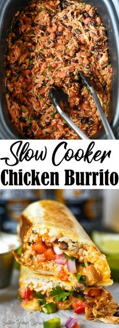 These slow cooker chicken burritos are super easy. Loaded with chicken, beans, cheese and crisped up in the skillet slightly! Perfect for the freezer!