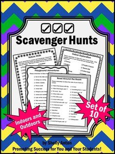 Here is a set of ten scavenger hunts for your end of the school year activities or for summer packets! Scavenger hunt themes include nature walk, indoor exploration, math all around, science all around, read around the room, colors everywhere, shapes everywhere, school days, out shopping, and playground adventures. This is a great set for the end of the year, summertime, or back to school!