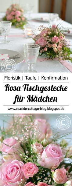 Tischgestecke zur Konfirmation oder Taufe eines Mädchens | Floristik, Tischschmuck, Tischdeko, Centerpiece, Floristry
