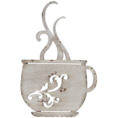 - Coffee Décor - Ideas of Coffee Décor - Rustic White Metal Coffee Cup Wall Kitchen Restaurant Coffee Shop Decor! White Coffee Cups, Coffee Theme, Wall Decor Online, Metal Baskets, Rustic White, Print Coupons, Metal Wall Decor, Metal Walls, Coffee Shop