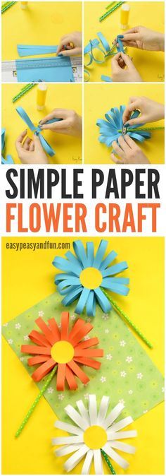Craft Happy thinks this Simple Paper Flower Craft is super cute. A great springtime craft for older kids! Summer Crafts, Holiday Crafts, Fun Crafts, Arts And Crafts, Music Crafts, Straw Crafts, Spring Crafts For Kids, Amazing Crafts, Summer Kids
