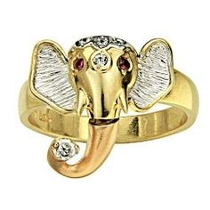 This is a very exotic and unique gold elephant ring!  It is a beautiful elephant head in yellow gold, white gold and rose gold!  It will turn heads!