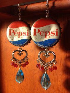 Vintage Pepsi Bottle Cap Earrings by LittleLamzie on Etsy, $15.00