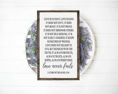 Love is patient love is kind sign Bible Verse Wall Art, Bible Verses, Cute Bedroom Decor, Wall Decor, Candlemaking, Love Never Fails, Love Is Patient, Wedding Goals, Crafts To Make