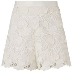 Alexis Adrien High Waist Lace Short ($275) ❤ liked on Polyvore featuring shorts, white, white floral shorts, high rise shorts, lace shorts, highwaist shorts and high waisted lace shorts