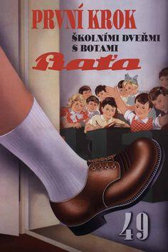 Bata První Krok (First Step) advertising, Czech Republic, undated #batashoes #bata120years #advertising Bata Shoes, Vintage Advertisements, Czech Republic, Character Shoes, Clogs, Advertising, Dance Shoes, Rues, European Countries